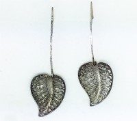 Silver leaf Yemenite earrings