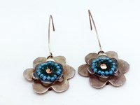 Turquoise flower two-tiered earrings